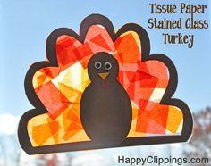 DIY Tissue Paper Stained Glass Turkeys (Kids Craft)