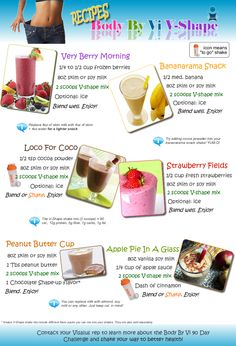 Body By Vi Shake Recipes    www.KindraWeaver.bodybyvi.com