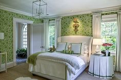 50 Gorgeous Green and White Bedrooms - The Glam Pad.  So pretty!