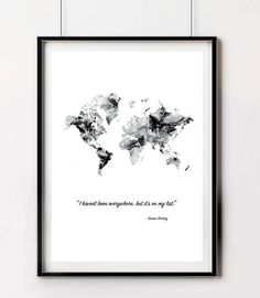 Black and pink watercolour circles print simple by yocica on etsy world printable map travel poster quote large world map art watercolor world map gumiabroncs Gallery