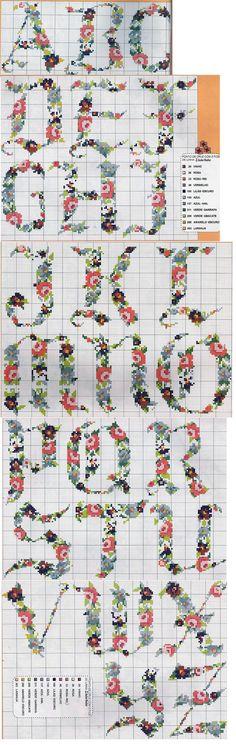 Floral Cross Stitch Alphabet Chart