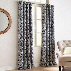Chenille Damask Navy Grommet Curtain | Pier 1 Imports