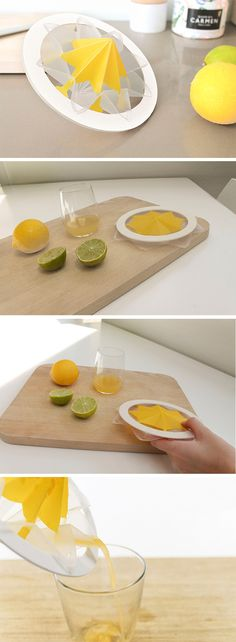 the Flat Juicer is a simple, space-saving solution. Thanks to its clever design, only one step is needed to set it up. Just squeeze the flexible body and the juicer pops into shape immediately.