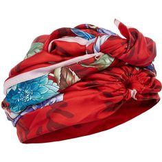 DEE DI VITA Red Silk Dahlia Turban (1.402.160 IDR) ❤ liked on Polyvore featuring accessories, silk turban and red turbans
