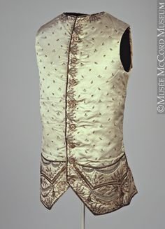 Waistcoat About 1775, 18th century Fibre: silk (satin, facing, embroidery), wool, linen (lining); metal (sequins, coils); Sewn (hand)