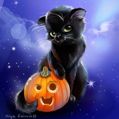 Happy Halloween! #halloween #pumpkin #blackcat #halloweenart #art #blackitty #digital #cgart #digitalart #cutethings #cute #bigeyes #trickortreat #instagram #instagramer #sketch_daily #sketchy #photooftheday #picoftheday #artist #художник #originalart #instagoods #artdaily