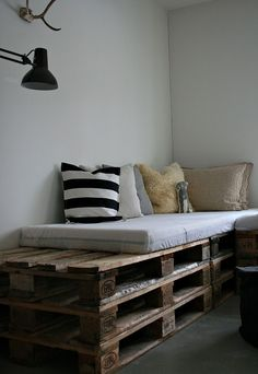 """Pallet sofa  NOTE: EVERYONE INTERESTED IN UPCYCLED PALLETS, PLEASE READ this information from the fantastic blog Re-Nest. A chemical called 2,4,6-tribromoanisole (TBA), a byproduct of the fungicide used to treat the wooden pallets their products shipped on, is associated with nausea, stomach pain, vomiting and diarrhea. If your wooden pallets contain low-grade engineered wood or cardboard, they may also contain formaldehyde and harbor all kinds of critters you don't want to know about. For safe upcycle items see my board """"Upcycle - Non-toxic and Safe"""""""
