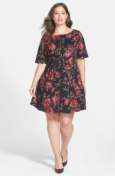 Floral Print Fit & Flare Dress (Plus Size)