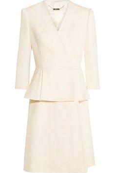 Alexander McQueen - Wool And Silk-blend Twill Peplum Coat - Ivory