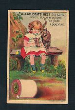 1890's Victorian Trade Card J&P Coats Best Six Cord Giles Lith Co.N.Y.