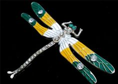 Vintage Dragonfly Enamel Rhinestone Brooch Green Yellow White Figural Pin   eBay