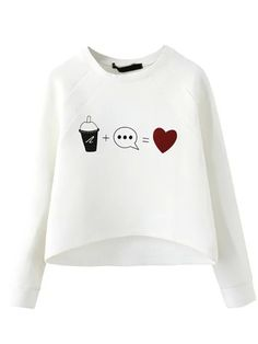 White Round Neck Drink Heart Print Crop Sweatshirt , High Quality Guarantee with Low Price!