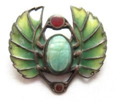 Antique Victorian Era Stained GLASS 900 SILVER Scarab Brooch | eBay