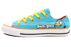 Angry Birds Shoes-Blue, Angry Birds Shoes, Cosplay Hand Drawing Shoes Bird Shoes, Painted Canvas Shoes, Angry Birds, Chuck Taylor Sneakers, How To Draw Hands, Cosplay, Drawing, Blue, Fashion