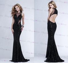 Alluring Sequin Lace Jewel Neckline Mermaid Evening Dress With Train on Luulla