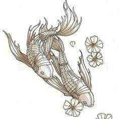 Mechanical Koi Fish Steampunk 4x6 Art Print by KiriMothDesigns, $6.00