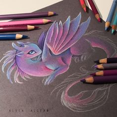 Little precious is waking up^^ Do you like purple+pink+blue color combination? Cute Dragon Drawing, Dragon Sketch, Fantasy Drawings, Fantasy Art, Art Drawings, Cute Animal Drawings, Colorful Drawings, Mythical Creatures Art, Unicorn Pictures