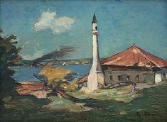 Gheorghe Petrașcu - Geamie la Ada-Kaleh Subic, Vintage Artwork, Romania, 1 Mai, Laundry Hacks, Paintings, Frames, Czech Republic, Impressionism