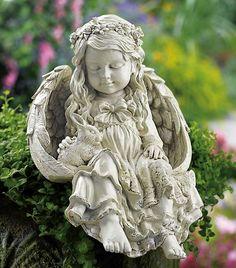 Amazon.com: Barefoot Angel & Bunny Rabbit Garden Sculpture By Collections Etc: Patio, Lawn & Garden