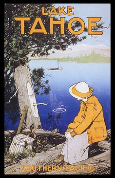 Vintage Travel Lady Looking At Lake Tahoe California Travel Tourism Usa Vintage Poster Repro - Lady Looking At Lake Tahoe California Travel Tourism Usa Vintage Poster Repro Poster Art, Retro Poster, Kunst Poster, Vintage Poster, Vintage Travel Posters, Vintage Postcards, Vintage Art, Poster Prints, Art Print