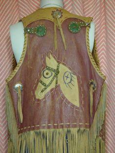 Vintage 60s Rugged Western Fringe Horse Vest Cowboy Cowgirl Primitive Hippie