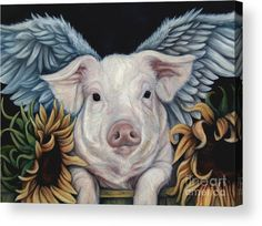 Pig Acrylic Print featuring the painting When Pigs Fly by Lorraine Davis Martin