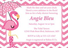 Chevron Flamingo Shower Invitation Boot and by CowPrintDesigns, $8.00