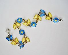 Sterling Silver Blue Yellow Guilloche Enamel by mynameisbetina