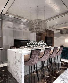 Get inspired by these luxury dining rooms and kitchen design ideas! Luxury Kitchen Design, Luxury Kitchens, Interior Design Kitchen, Modern Kitchens, Luxury Interior Design, Room Interior, Interior Architecture, Dining Room Table Chairs, Dining Room Sets