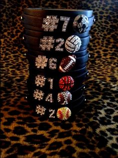 Show your spirit! The bracelet is long, thick, and has three adjustable snaps. The rhinestone numbers are in length. The sports charms are approx Small parts that are not intended fo Basketball Motivation, Basketball Mom, Baseball, Soccer, Volleyball Players, Beach Volleyball, Softball Drills, Softball Jerseys, Lacrosse