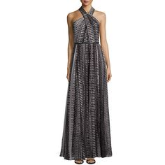 Halston Heritage Crisscross Halter Printed Flowy Gown (€180) ❤ liked on Polyvore featuring dresses, gowns, blk fd pxls print, halter dress, halter top, criss cross halter dress, chiffon halter dress and halter gown
