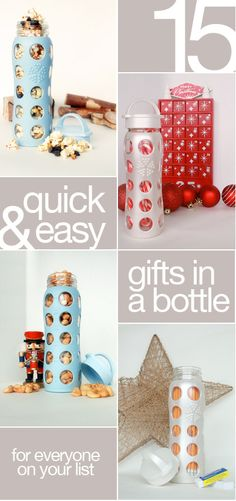Water bottles filled with treats make pretty AND practical gifts! #christmas
