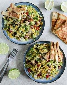Chopped Chicken Taco Salads with Cheese Quesadilla Strips