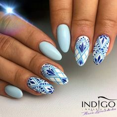 Square Geometric Winter Nail Art Design Ideas – Page 10 – Chic Cuties Bl. Winter Nail Art, Winter Nails, Nail Art Inspiration, Nail Art Arabesque, Hair And Nails, My Nails, Sky Blue Nails, Nail Art Blue, Nail Lab