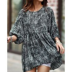 Trendy Style Scoop Collar Abstract Print 3/4 Sleeve T-Shirt For Women