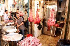 Slagerij in Aleppo. Longen te koop!  Foto: Marco in 't Veldt