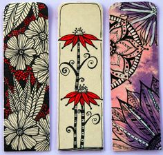 coco.nut: flower bookmarks Zentangle Drawings, Doodles Zentangles, Zentangle Patterns, Amazing Drawings, Easy Drawings, Zen Doodle, Doodle Art, Tangle Art, Diy Bookmarks