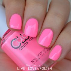 neon pink nail polish   http://www.livelovepolish.com/products/color-club-modern-pink-nail-polish-poptastic-collection