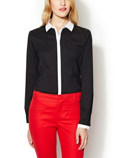 Stretch Cotton Shirt with Contrast Trim