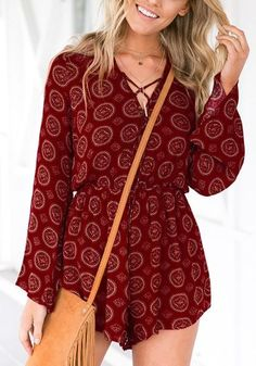 Can't get enough of playsuits? Well, you've got to have this mesmerizing maroon lace-up trumpet sleeves romper in your collection.