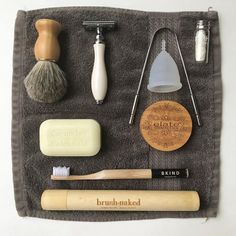 Here are a few of my fave Zero Waste toiletries! Safety razor and brush, soap bar, bamboo toothbrush, bamboo toothbrush case, refillable… Zero Waste, Reduce Waste, Reuse Recycle, Recycling, Menstrual Cup, Safety Razor, Green Life, Sustainable Living, Sustainable Environment