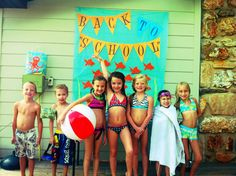 Back to School Pool Party photo booth  ( make with table cloth to tape to wall.