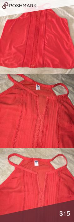 Burnt Orange Lace Detail Old Navy Tank Beautiful burnt orange! Cute lace detail down the middle, very flowy! Old Navy Tops Tank Tops