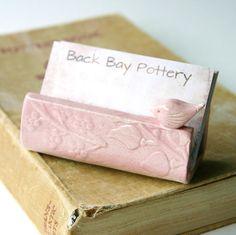 Garden Bird Ceramic Business Card Holder  Shabby by BackBayPottery, $21.50