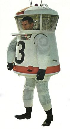 Grumman Moon Suit: the distinctive shape accommodates the ability of the astronaut to retract his arms from the sleeves of the suit into a spacious interior. 1962