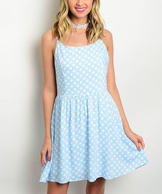 Look at this Baby Blue & White Polka Dot Fit & Flare Dress on #zulily today!