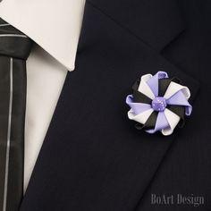 Lapel Pin/White/Black/Purple Kanzashi Flower Lapel Pin/Purple Dice Bead/Lapel Flower/Mens Lapel Flower/Wedding Accessories by BoArtDesign on Etsy