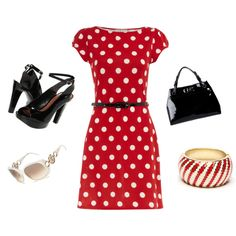 Maybe yellow with white polka dots... N nude pumps n silver jewelry
