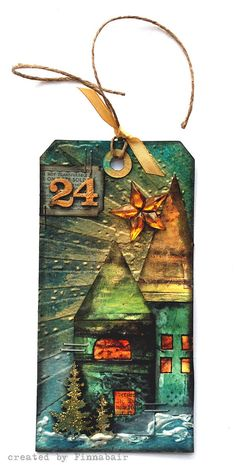Mixed-media art, art journaling and scrapbooking by polish artist and teacher Anna Dabrowska aka Finnabair. Christmas Mix, Christmas Cards, Xmas, Card Tags, Gift Tags, Handmade Tags, Paper Tags, Artist Trading Cards, Copics