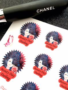 2 Sheet Beauty Day Darling/Girl's Night Out Stickers: Premium Matte, Red & Black Planner Stickers. Fits any size planner or journal